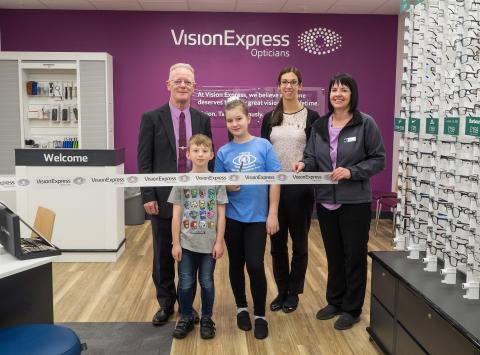 Young eye cancer survivor joins Vision Express to officially open new optical store at Tesco in Dereham