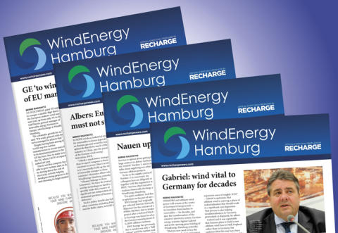 Recharge teams up with Hamburg Messe und Congress GmbH for official event dailies at WindEnergy Hamburg 2016