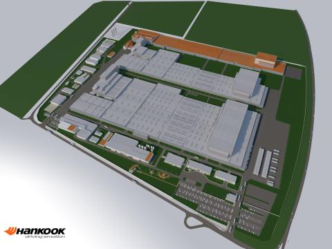 Hankook Tire Hungary, utbyggnadsområde fas 3 (orange).