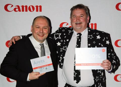 Saxvik Kontorsenter AS ble svært glad for utmerkelsen fra Canon