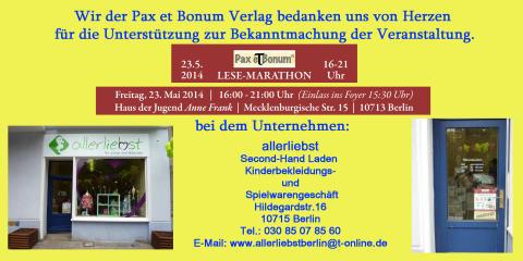Wir der Pax et Bonum Verlag bedanken uns von Herzen bei allerliebst für die Unterstützung zur Bekanntmachung der Veranstaltung.