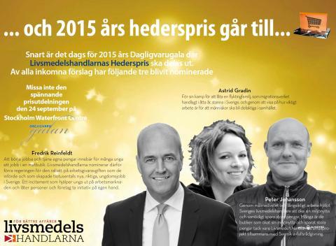 Årets nominerade till Livsmedelshandlarnas hederspris på dagligvarugalan