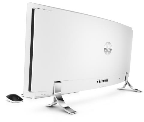 """HP Envy Curved All-In-One (34"""", Blizzard White), with wireless mouse and keyboard, Rear, Left facing"""