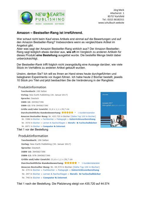 Amazon Rangliste - Wirklich nur Bestseller?