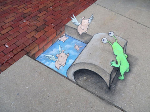 Green chalk monsters and flying pigs – David Zinn, first artist out for No Limit Street Art Borås 2015