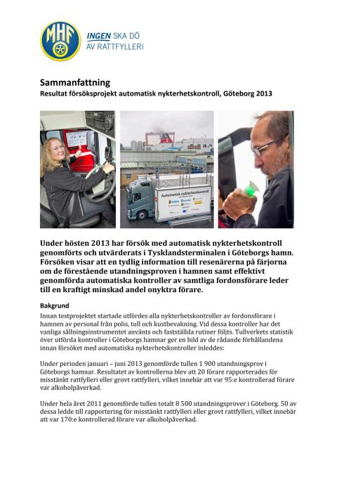Sammanfattning av utvärdering försök med alkobommar i Göteborg hösten 2013