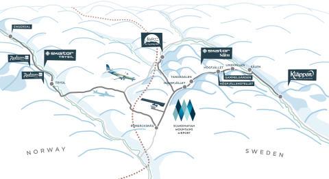 Oversigtskort Scandinavian Mountains Airport