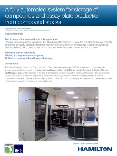 A fully automated system for storage of compounds and assay plate production from compound stocks