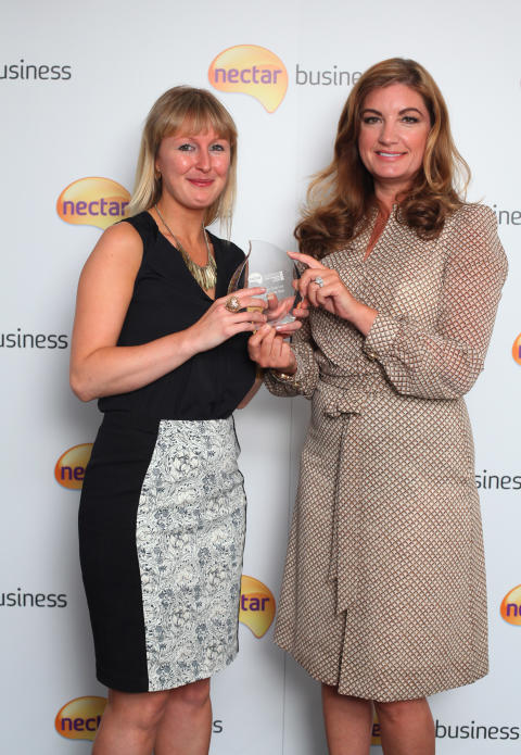 Nectar Business Start-up of the Year 2013 winner, Amy Cunningham, with Nectar Business Small Business Awards judge, Karren Brady