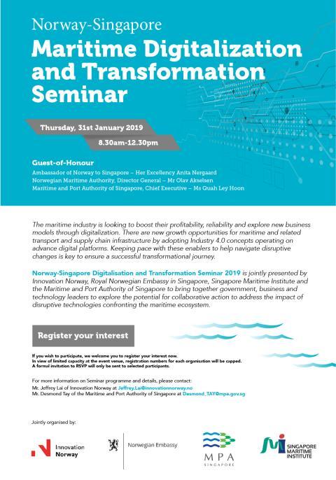 Norway-Singapore Maritime Digitalisation and Transformation Seminar: Register Your Interest