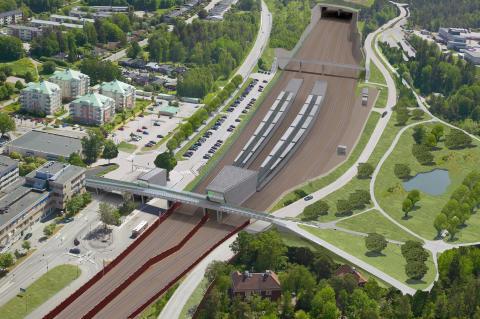 Vy över det nya stationsområdet - Kallhälls station