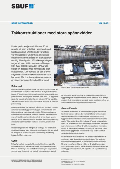 SBUF Informerar, nr. 11-15 Takkonstruktioner med stora spännvidder
