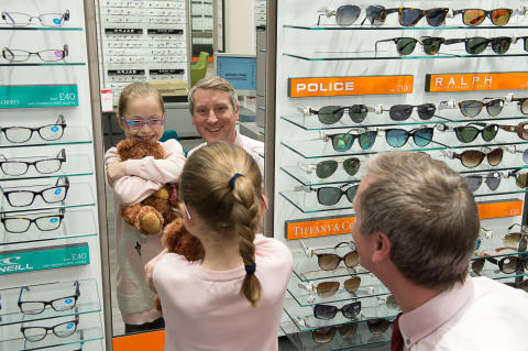 Young Maidenhead eye cancer survivor helps Vision Express open newly refurbished store