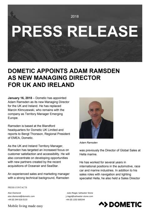Dometic Appoints Adam Ramsden as New Managing Director for UK and Ireland