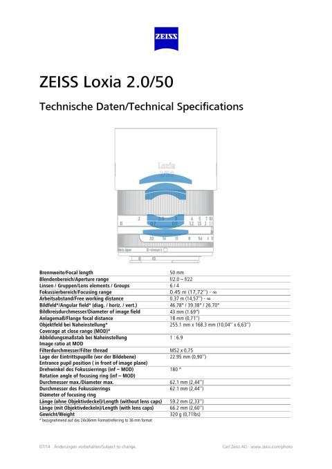 Zeiss Loxia - 50 mm F/2.0 - Tekniset tiedot