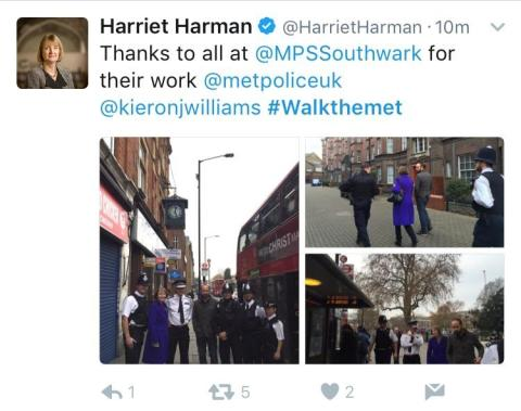 #Walkthemet -  Harriett Harman tweet
