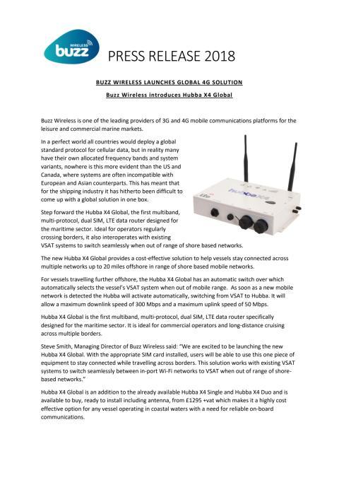 Buzz Wireless: Buzz Wireless Launches Global 4G Solution