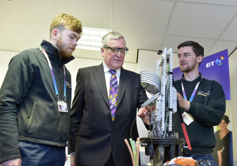 PICTURED L-R  apprentice Stewart Esler, Fergus Ewing MSP  and apprentice Matt Friel