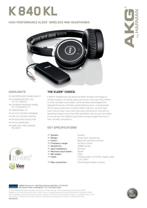 Specification sheet - AKG K 840 KL (English)