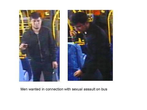 Men wanted in connection with sexual assault on bus