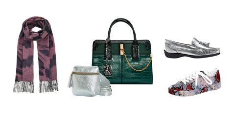 Lila, ormskinn och silver – här är höstens skor och accessoarer