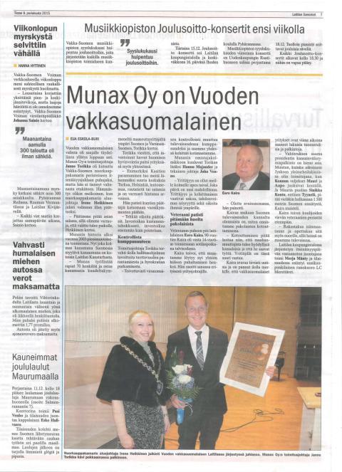 Munax Vuoden vakkasuomalainen