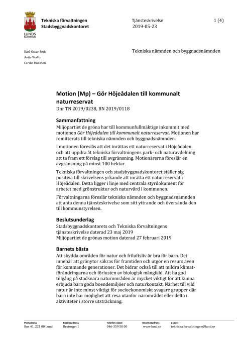 Tjänsteskrivelse Gör Höjeådalen till ett kommunalt naturreservat