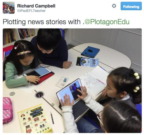 Students create news stories in South Korea with Plotagon Education