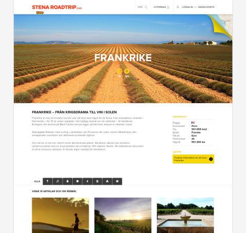 Exempel på landsida - Frankrike, stenaroadtrip.com
