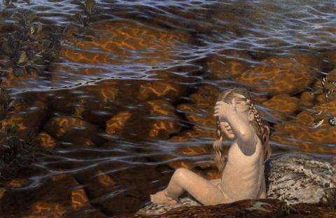 Gustaf Fjaestad, Solverkan på grunt vatten, 1906