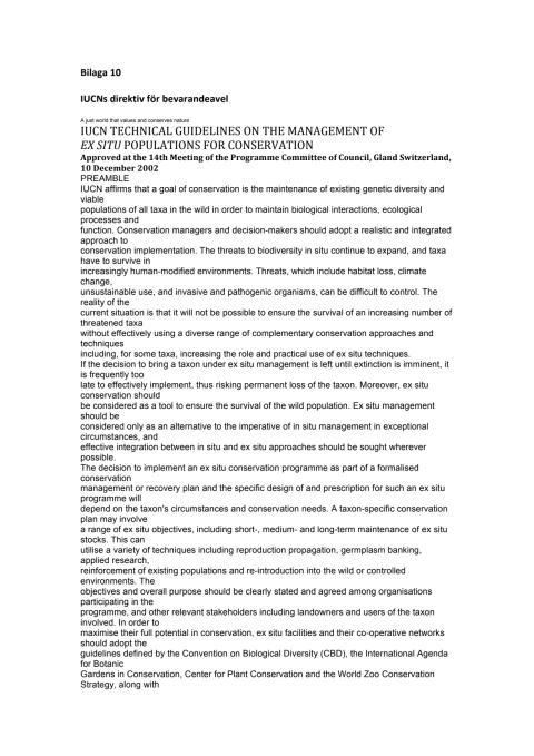 Bilaga 10 IUCNs direktiv för bevarandearbete