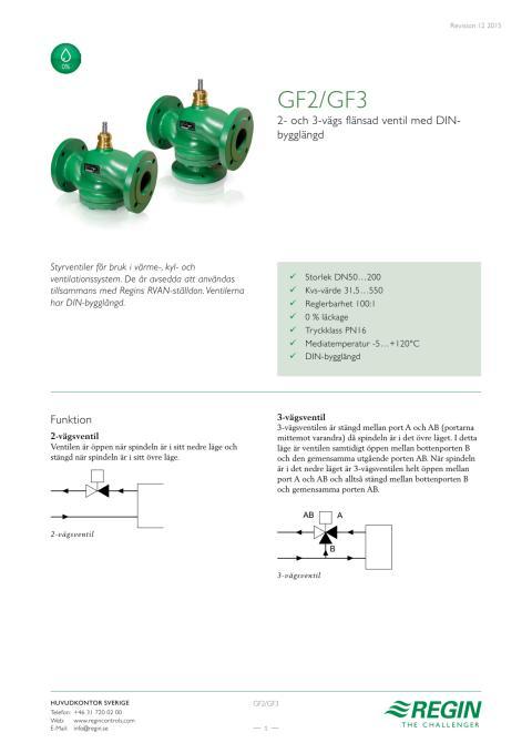 Produktblad för GF2/GF3, flänsade ventiler med DIN-bygglängd