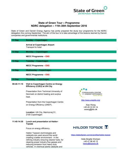 Programme - NDRC delegation – 11th-30th September 2016
