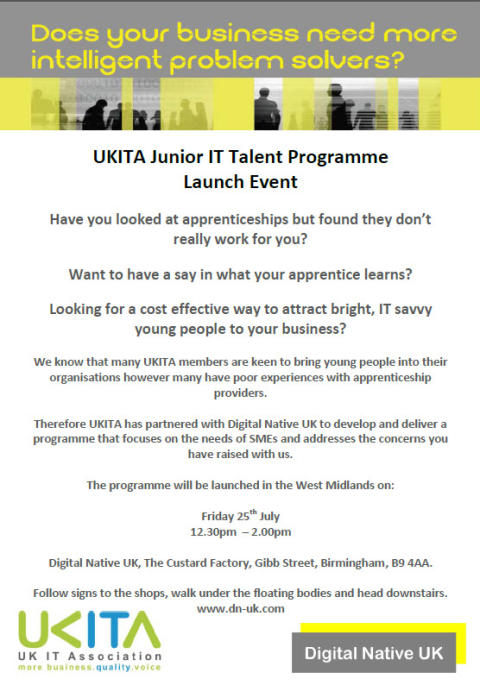 Announcing UKITA apprenticeships - do you need more bright problem-solvers?