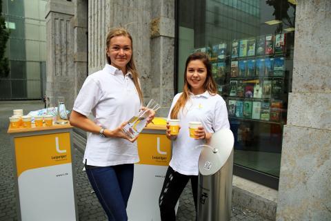 Erfrischend: Trinkwasserbrunnen vor der Tourist Information Leipzig