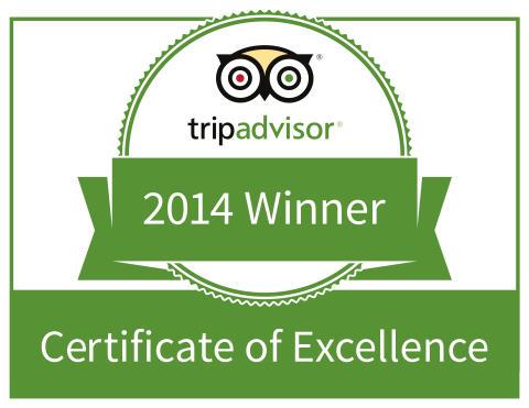 Vinnare av 2014 års Tripadvisor Certificate of Excellence