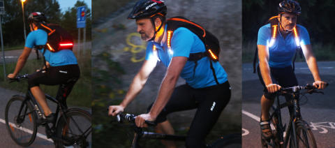 Lysande rygga för cyklister