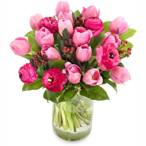 Hjärterum - rosa bukett till Alla hjärtans dag