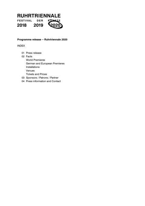 Presskit: Programme release - Ruhrtriennale 2020