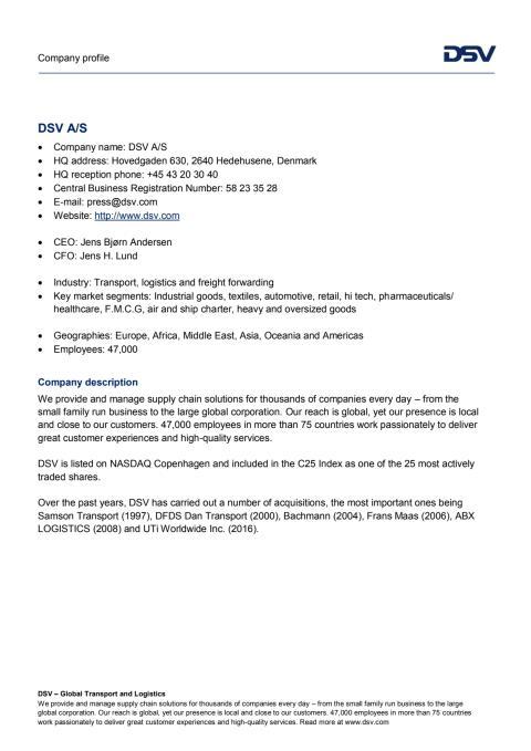 DSV Company profile