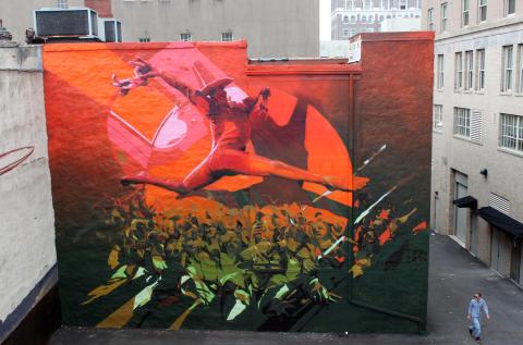 Polish muralist Robert Proch attending No Limit Street Art Borås 2015