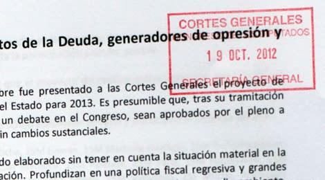 LA COORDINADORA 25S ENTREGA EN EL REGISTRO DEL CONGRESO DE LOS DIPUTADOS UN ESCRITO EN CONTRA DE LOS PRÓXIMOS PRESUPUESTOS.