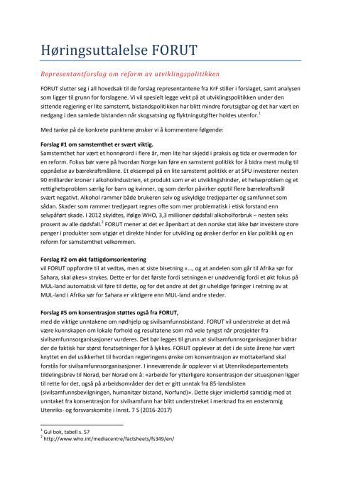 FORUT høringsuttalelse Dokument 8-25 S (2016-2017)