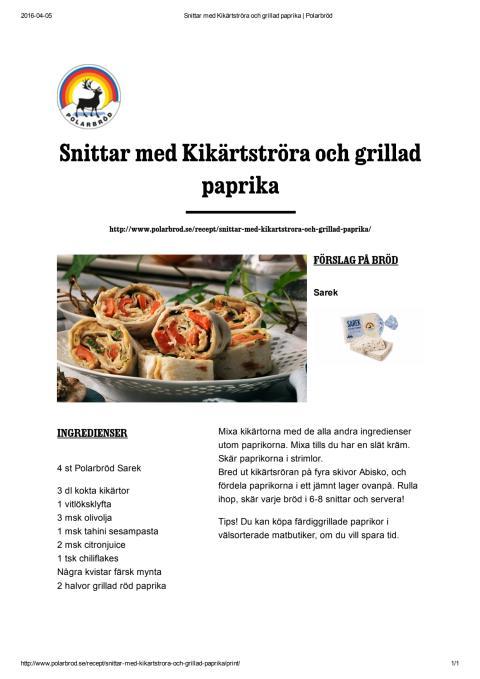 Snittar med kikärtsröra och grillad paprika