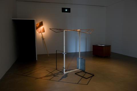 Joanna Hutton - installation; metal, wood, gel, video (loop, 1m 1s)
