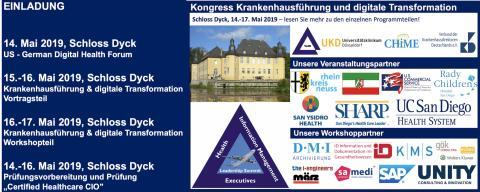 """Kongress """"Krankenhausführung und digitale Transformation"""" mit Prüfungsvorbereitung und Prüfung zum Certified Healthcare CIO zw. dem 14.-16.05."""