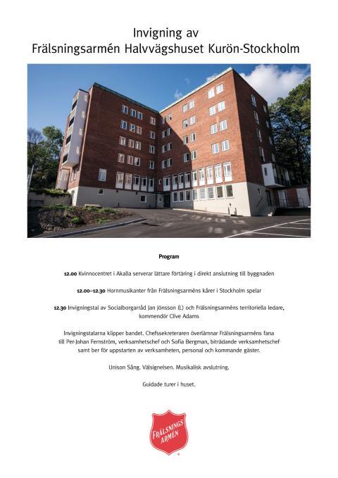 Program för invigning av Frälsningsarmén Halvvägshuset Kurön-Stockholm.