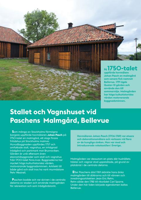 FLYER: Stallet och Vagnshuset vid Paschens Malmgård, Bellevue