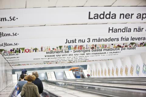 MatHem kampanj Östermalmstorgs tunnelbanestation