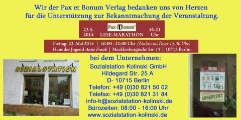 Wir der Pax et Bonum Verlag bedanken uns von Herzen bei Sozialstation Kolinski GmbH für die Unterstützung zur Bekanntmachung der Veranstaltung.